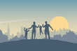 Happy children and parents. Dad, mom and two boys on a background of a sun, forest and city landscape. Silhouettes of people - young family outdoors. Flat vector illustration.