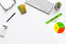 Credit Score With Credit Cards And Keyboard On Banker Work Place White Background Top View Mockup