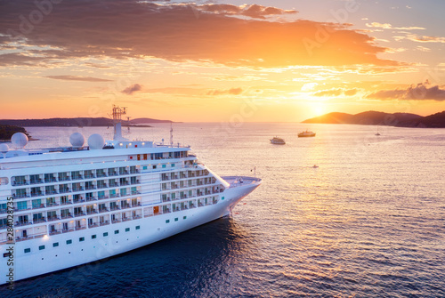 Obraz Croatia. Aerial view at the cruise ship during sunset. Adventure and travel.  Landscape with cruise liner on Adriatic sea. Luxury cruise. Travel - image - fototapety do salonu