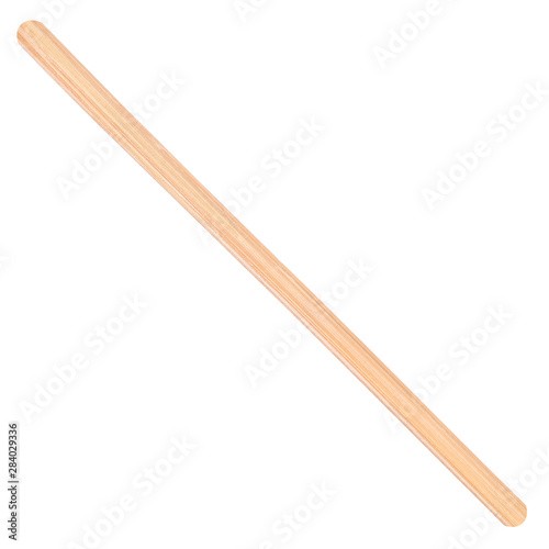 Fotografia  Wooden stick stirrers and ice cream spoon closeup isolated on white background