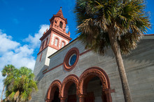 Bright Scenic View Of The Terra Cotta-trimmed Grace United Methodist Church, A Spanish Renaissance Revival Building Completed In 1887, In St Augustine, Florida, USA