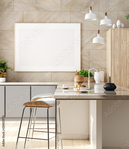 fototapeta na lodówkę Mock up poster in cozy kitchen interior, Scandinavian style, 3d render