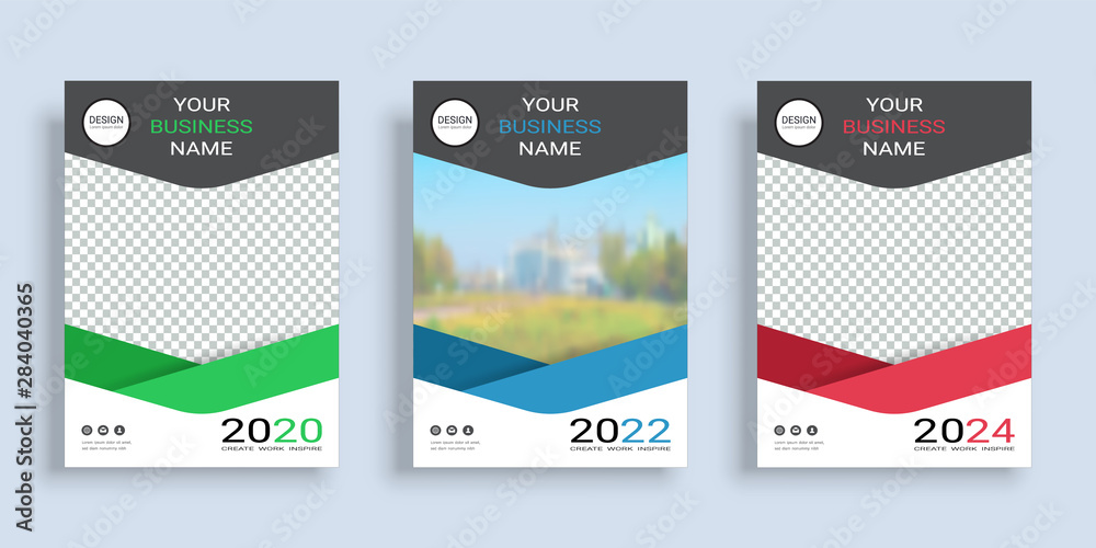 Fototapeta Poster cover book design template in A4 layout with space for photo background, 3 Color ways included, Use for annual report, proposal, portfolio, brochure, flyer, leaflet, catalog, magazine, booklet.
