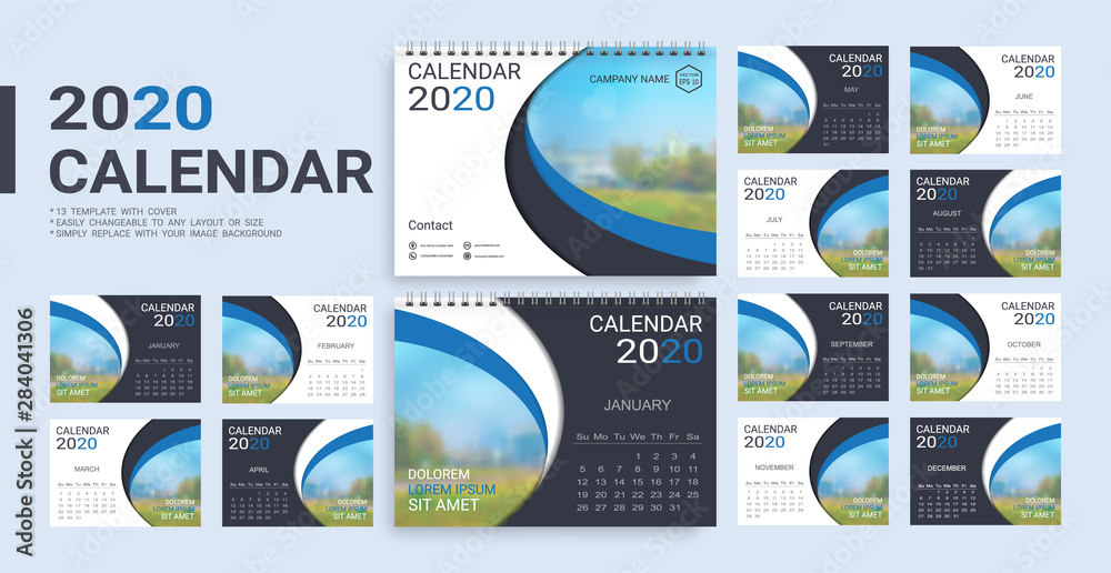 Fototapeta Desk Calendar 2020 template, 12 months and 13 template with cover included in A5 but easily to changeable to any layout or size and simply replace with your image background.