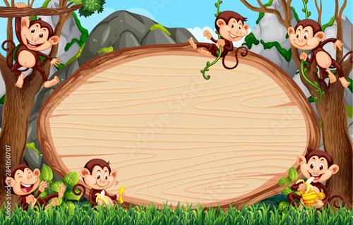 Foto auf Gartenposter Kinder Frame design with many monkeys around border