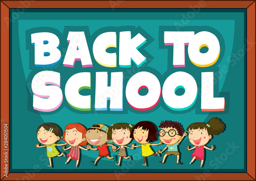 Photo Stands Kids Back to school template with happy children