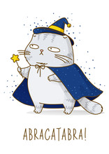 Cute Scottish Fold Gray Cat With Magic Wand, Witch Hat And Cloak Isolated On White - Character For Halloween Design