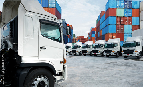 New haulage truck fleet is parking in the container depot terminal Wallpaper Mural
