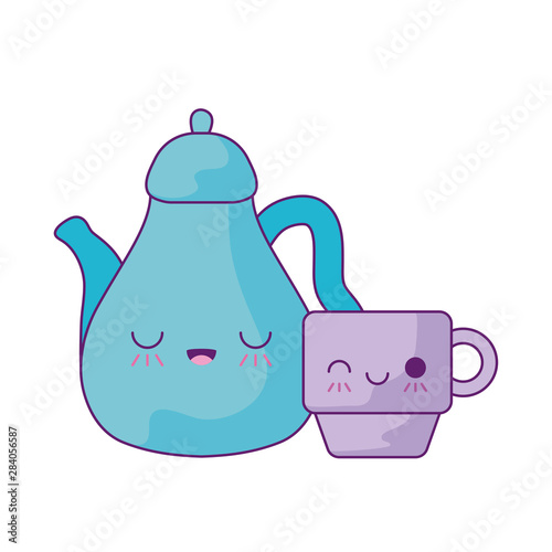 Fototapeta cute teapot with cup kawaii style