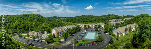 Fotografie, Tablou  Aerial view of typical American midwest middle class apartment complex with club