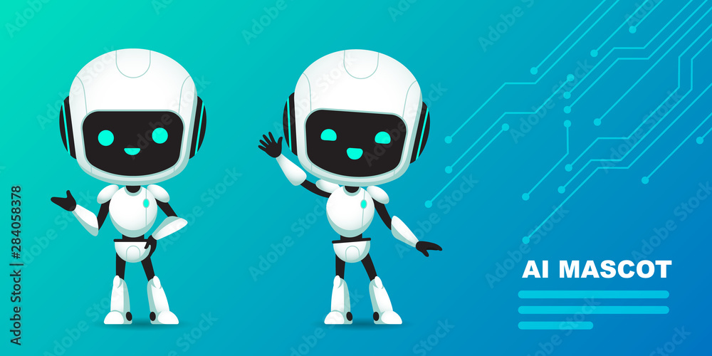 Fototapeta Set of cute robot ai character with circuits background