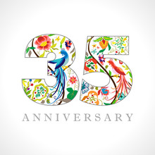 35 Years Old Logotype. 35 Th Anniversary Numbers. Decorative Symbol. Age Congrats With Peacock Birds. Isolated Abstract Graphic Design Template. Royal Coloured Digits. Up To 35% Percent Off Discount.