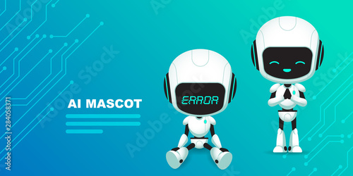 Obraz Set of cute robot ai character with circuits background - fototapety do salonu