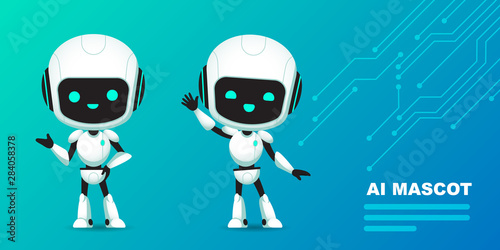 Photo Set of cute robot ai character with circuits background