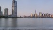 Financial District and Jersey city Skyscrapers day to night time-lapse
