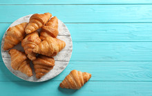 Board With Tasty Croissants An...