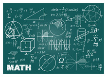 Chalk Doodle Math Blackboard. ...
