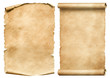 canvas print picture Old worn paper sheet and scroll isolated on white
