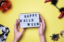 Happy Halloween Text In Woman ...