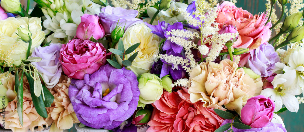 Fototapety, obrazy: Flower background with rose, eustoma, carnation and spiraea.