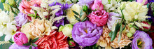 Flower Background With Rose, Eustoma, Carnation And Spiraea.