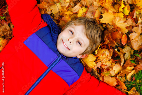 Little kid boy lying in autumn leaves in colorful fashion fall clothing. Happy healthy child having fun in autumn park on warm day. Cute school boy smiling and laughing - 284065570