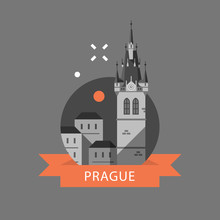 Prague Symbol, Old Town, Tower With Clock And Group Of Houses, Czech Republic Travel Destination