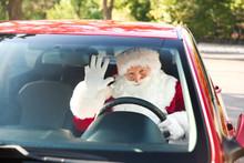 Santa Claus Driving Modern Car, View Through Windscreen Window