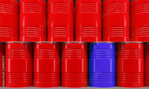 Cuadros en Lienzo  many stacked colored barrels as industry symbol - 3D Illustration
