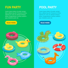 Cartoon Color Swimming Ring Toy Banner Vecrtical Set. Vector
