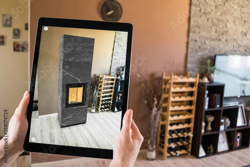 Photo Augmented reality tablet application - previewing fireplace