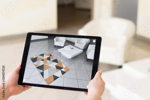 Augmented reality tablet application - previewing carpet Canvas Print