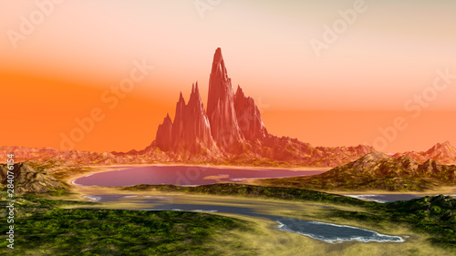 Wall Murals Orange Glow fantasy landscape scenery at dawn