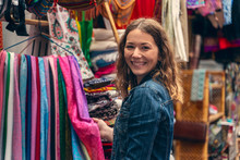 Young Woman Shopping In A Bazar