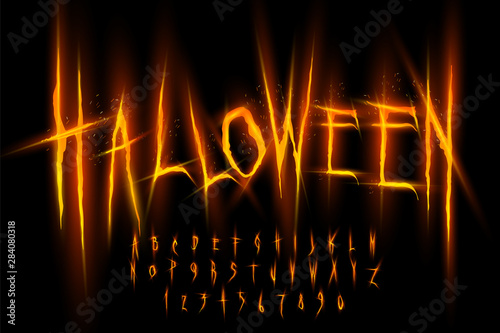 Obraz Halloween font, Letters and Numbers, vector eps10 illustration - fototapety do salonu