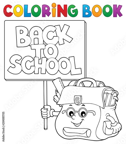 Fotobehang Voor kinderen Coloring book schoolbag with sign