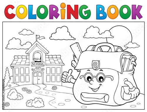 Fotobehang Voor kinderen Coloring book happy schoolbag topic 3