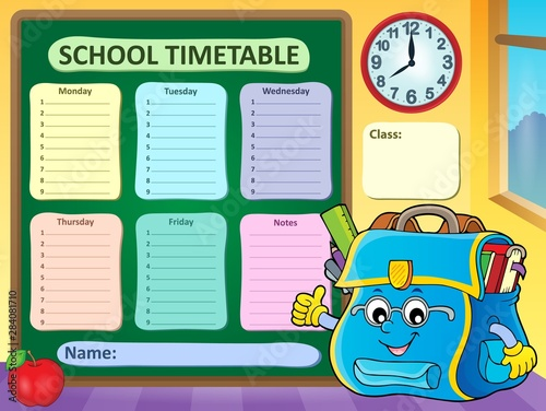 In de dag Voor kinderen Weekly school timetable template 9