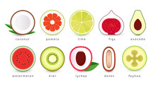 Set Of Fresh Fruits Icons. Slice Of Tropical Fruits, Logo Collection. Isolated Vector Emblems.