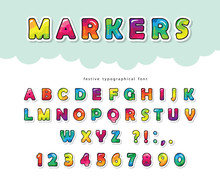 Cartoon Bright Font For Kids. Glossy ABC Letters And Numbers. Paper Cut Out. Paint With Markers Colorful Alphabet. Vector