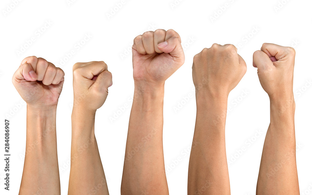 Fototapety, obrazy: Man fist set isolated on white background