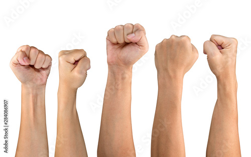 Fotografiet Man fist set isolated on white background
