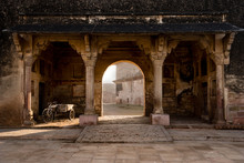 An Old Bicycle With A Storage Cart At The Ruins Of Gwalior Fort In Madhya Pradesh, Central India.