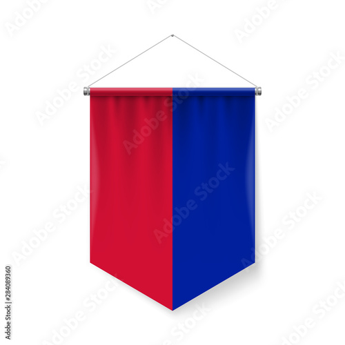 Obraz na plátne Vertical Pennant Flag of Haiti as Icon on White Background with Shadow Effects