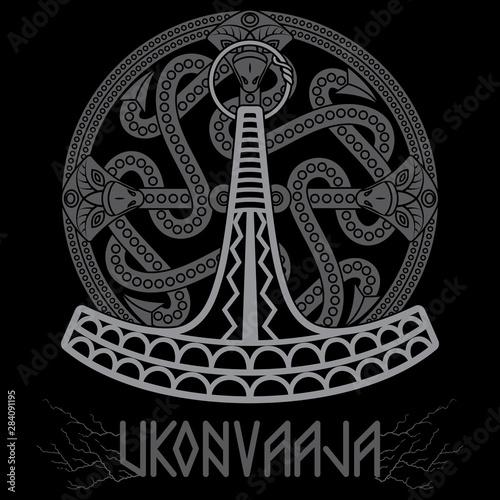 Photo Ukonvasara - Ukko hammer or Ukonkirves - Ukko Axe, is the simbol and magikal wea