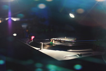 Record Player  Plays 45 Rpm Vinyl In Vintage 80s Dance Club