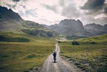 Mountain Biker On Road In Swis...
