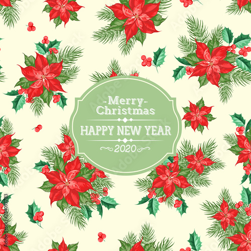 Fototapeta Merry Christmas Card With Badge For Text And Misletoe Pattern On The White Background Holiday Invitation Card With Poinsettia Floral
