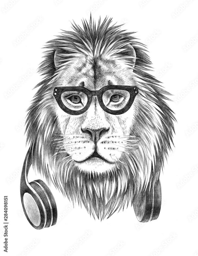 Fototapeta Hand drawn dressed up anthropomorphic lion