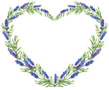 Heart Frame Of Lavender Flowers